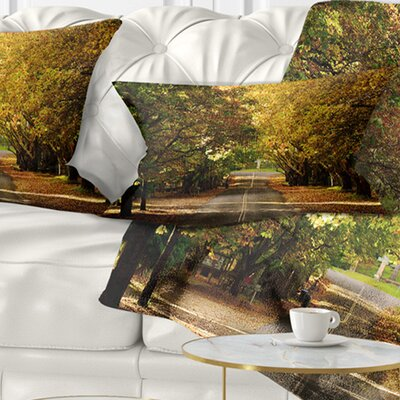 Road Through Beautiful Trees Landscape Printed Pillow Size: 12 x 20, Product Type: Lumbar Pillow