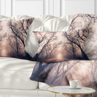 Road Through Mystical Dark Forest Landscape Photography Pillow Size: 12 x 20, Product Type: Lumbar Pillow