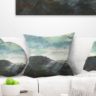 Mountain Peak Under Cloudy Sky Landscape Painting Pillow Size: 16 x 16, Product Type: Throw Pillow