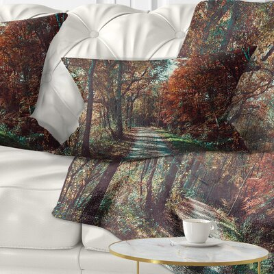 Road Through Fall Forest Landscape Photo Pillow Size: 12 x 20, Product Type: Lumbar Pillow