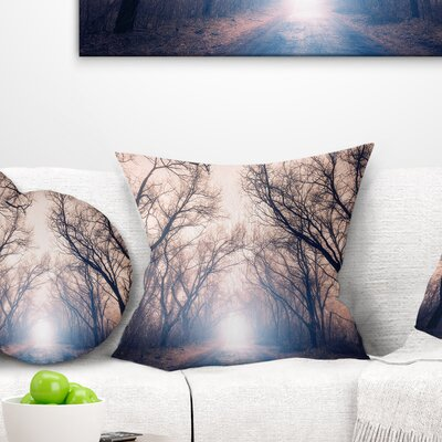 Mysterious Sunlight in Forest Landscape Photo Pillow Size: 18 x 18, Product Type: Throw Pillow