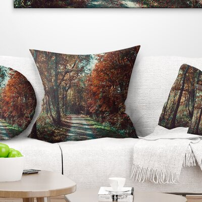 Road Through Fall Forest Landscape Photo Pillow Size: 26 x 26, Product Type: Euro Pillow