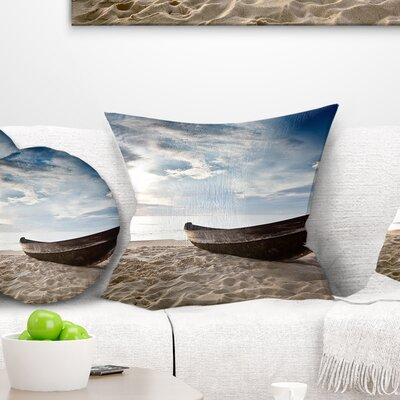 Old Fisherman Boat Seashore Photography Pillow Size: 16 x 16, Product Type: Throw Pillow