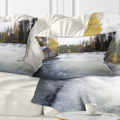 Flowing River and Aged Watermill Landscape Photography Pillow Size: 12 x 20, Product Type: Lumbar Pillow