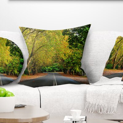 Road Through Stunning Greenery Landscape Printed Pillow Size: 16 x 16, Product Type: Throw Pillow