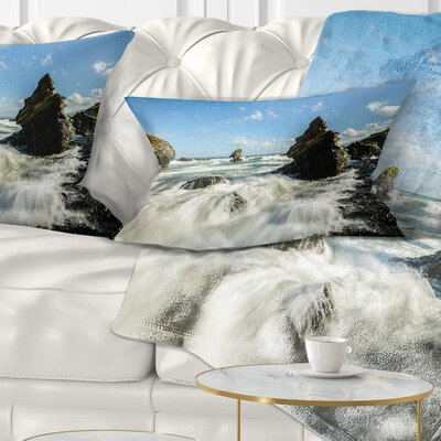 Roaring Atlantic Rocky Coast Seascape Pillow Size: 12 x 20, Product Type: Lumbar Pillow