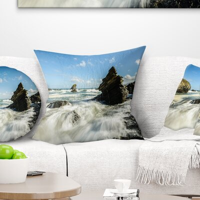 Roaring Atlantic Rocky Coast Seascape Pillow Size: 18 x 18, Product Type: Throw Pillow