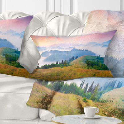 Foggy Carpathian Panorama Landscape Photo Pillow Size: 12 x 20, Product Type: Lumbar Pillow