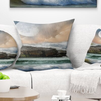 Roaring Ocean Under Large Moon Seascape Photography Pillow Size: 18 x 18, Product Type: Throw Pillow