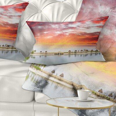 Roatan Beach Sunset Panorama Seashore Photo Pillow Size: 12 x 20, Product Type: Lumbar Pillow