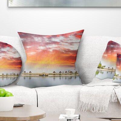Roatan Beach Sunset Panorama Seashore Photo Pillow Size: 18 x 18, Product Type: Throw Pillow