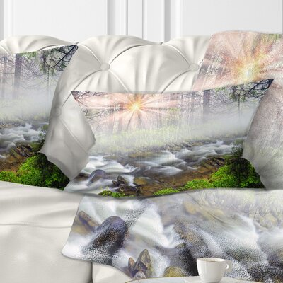 Foggy Carpathian with Sunlight Landscape Photography Pillow Size: 12 x 20, Product Type: Lumbar Pillow
