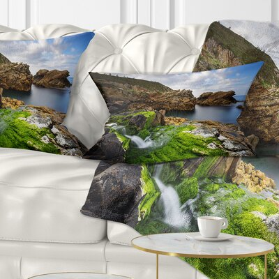 Rocks and Waterfall in Spanish Coast Seashore Photo Pillow Size: 12 x 20, Product Type: Lumbar Pillow