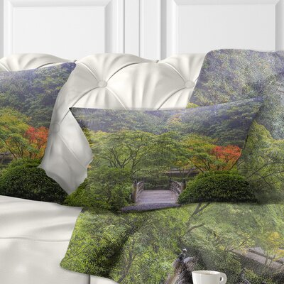 Foggy Dawn in Japanese Garden Landscape Photography Pillow Size: 12 x 20, Product Type: Lumbar Pillow