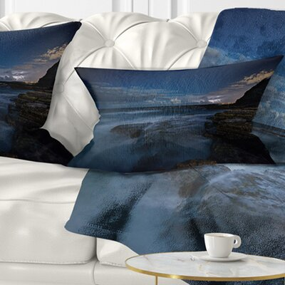 Rocky Ocean at Nighttime Seashore Pillow Size: 12 x 20, Product Type: Lumbar Pillow