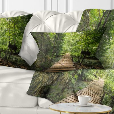 Forest Way to Emerald Pool Landscape Photo Pillow Size: 12 x 20, Product Type: Lumbar Pillow