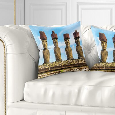 Moai with Topknot Hat Portrait Photo Pillow Size: 18 x 18, Product Type: Throw Pillow