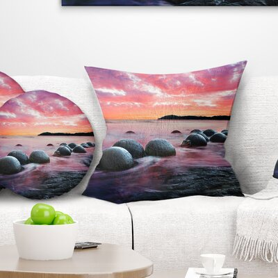 Moeraki Boulders at Sunset Seashore Photo Pillow Size: 26 x 26, Product Type: Euro Pillow
