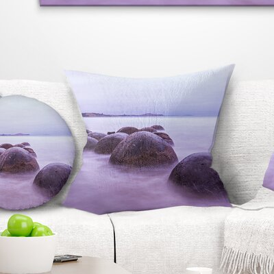 Moeraki Boulders New Zealand Seashore Photo Pillow Size: 18 x 18, Product Type: Throw Pillow