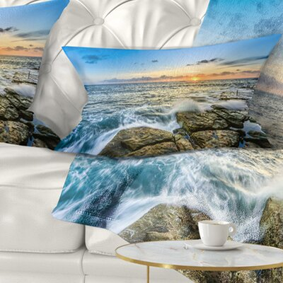 Rocky Coogee Beach in Sydney Seashore Pillow Size: 12 x 20, Product Type: Lumbar Pillow