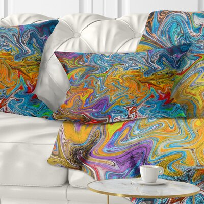 Fractal Flowing Contemporary Pillow Size: 12 x 20, Product Type: Lumbar Pillow
