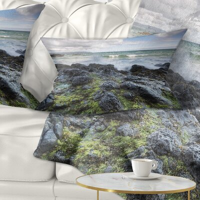 Rocky North Ireland Seashore Photography Pillow Size: 12 x 20, Product Type: Lumbar Pillow