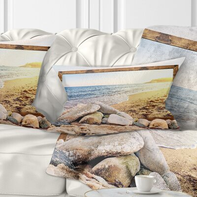 Framed Effect Beach Rocks Seashore Pillow Size: 12