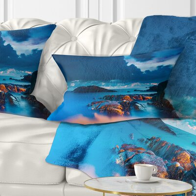 Rocky Sea with Long Exposure Seashore Photo Pillow Size: 12 x 20, Product Type: Lumbar Pillow