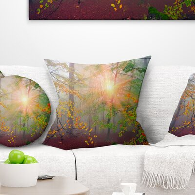 Morning in Misty Forest Landscape Photo Pillow Size: 18 x 18, Product Type: Throw Pillow