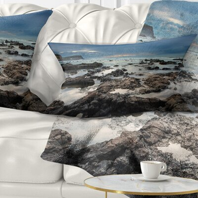 Rocky Seashore with Sky over Pillow Size: 12 x 20, Product Type: Lumbar Pillow