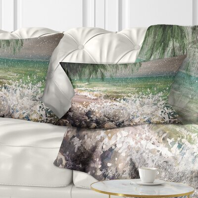 Rocky Seashore with Waves Pillow Size: 12 x 20, Product Type: Lumbar Pillow