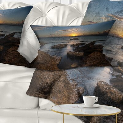 Rocky Sydney Beach at Sunset Seascape Pillow Size: 12 x 20, Product Type: Lumbar Pillow