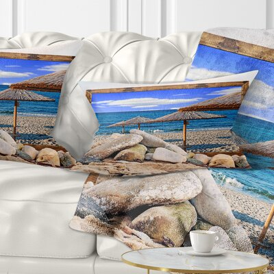 Framed Effect Beach Umbrellas Seashore Pillow Size: 12 x 20, Product Type: Lumbar Pillow