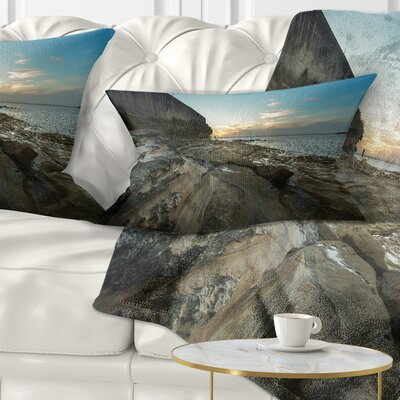 Rocky Sydney Beach View Seascape Pillow Size: 12 x 20, Product Type: Lumbar Pillow