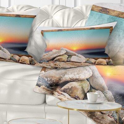 Framed Effect Blurred Beach Seashore Pillow Size: 12 x 20, Product Type: Lumbar Pillow