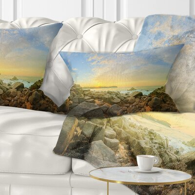Rocky Untouched Romantic Seashore Pillow Size: 12 x 20, Product Type: Lumbar Pillow
