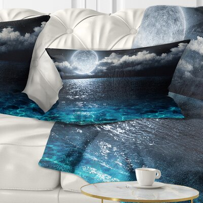 Romantic Full Moon over Sea Seascape Pillow Size: 12 x 20, Product Type: Lumbar Pillow