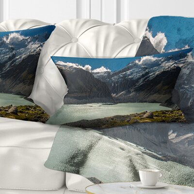 Frosty Mountains over Lake Landscape Printed Pillow Size: 12 x 20, Product Type: Lumbar Pillow