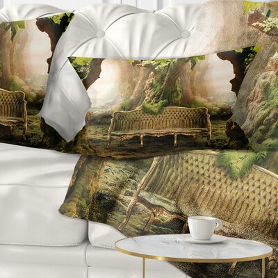 Romantic Seat in Deep Forest Landscape Photography Pillow Size: 12 x 20, Product Type: Lumbar Pillow