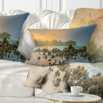 Romantic Untouched Beach Sunset Landscape Printed Pillow Size: 12 x 20, Product Type: Lumbar Pillow