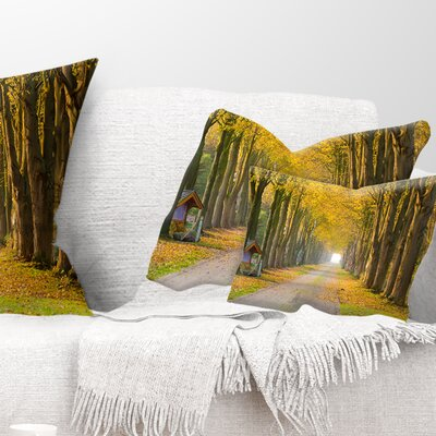 Country Road Below Trees Landscape Photography Pillow Size: 12 x 20, Product Type: Lumbar Pillow