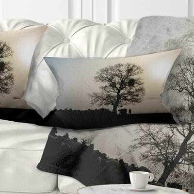 Frosty Spring Morning Sunrise with Tree Landscape Printed Pillow Size: 12 x 20, Product Type: Lumbar Pillow