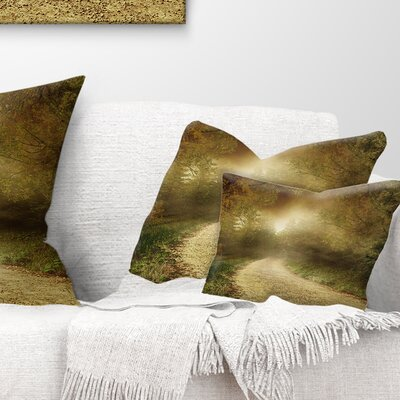 Country Road Through Fall Scenery Landscape Photography Pillow Size: 12 x 20, Product Type: Lumbar Pillow