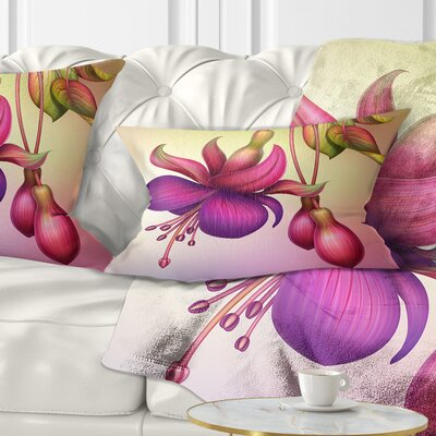 Fuchsia Flowers with Leaves Floral Pillow Size: 12 x 20, Product Type: Lumbar Pillow