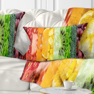 Fruits Berries and Vegie Collage Floral Pillow Size: 12 x 20, Product Type: Lumbar Pillow
