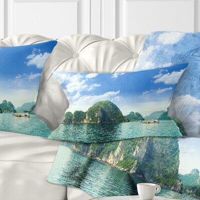 Ha Long Bay in Vietnam Seascape Pillow Size: 12 x 20, Product Type: Lumbar Pillow