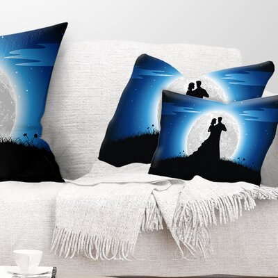 Couple Embrace in Night Romantic Pillow Size: 12 x 20, Product Type: Lumbar Pillow