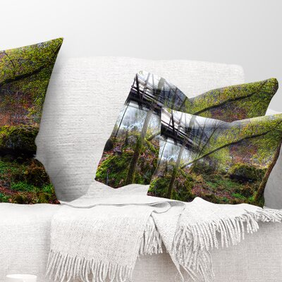 Creek and Bridge with Sunbeams Landscape Photography Pillow Size: 12 x 20, Product Type: Lumbar Pillow