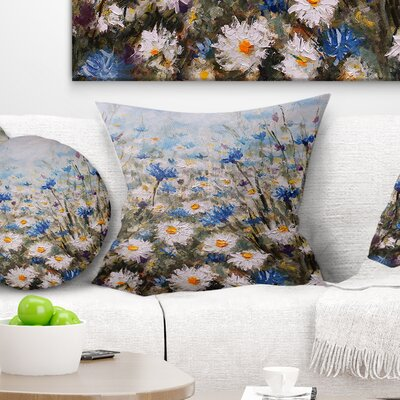 Glade of Cornflowers and Daisies Floral Pillow Size: 26 x 26, Product Type: Euro Pillow