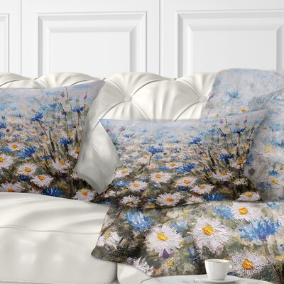 Glade of Cornflowers and Daisies Floral Pillow Size: 12 x 20, Product Type: Lumbar Pillow